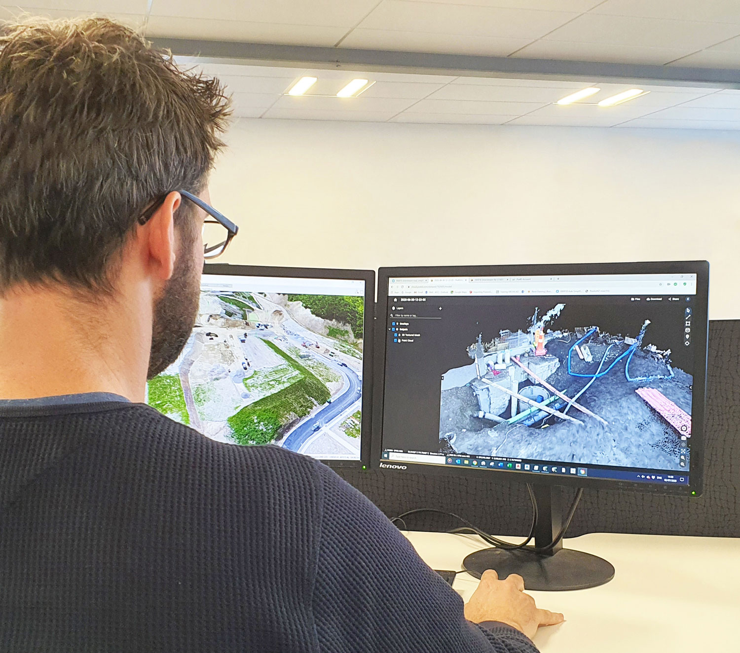 Surveyor processing a point cloud